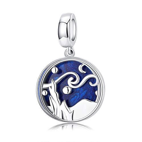 Ciondolo in argento Sterling 925 con cielo stellato e smalto blu, compatibile con braccialetti Pandora
