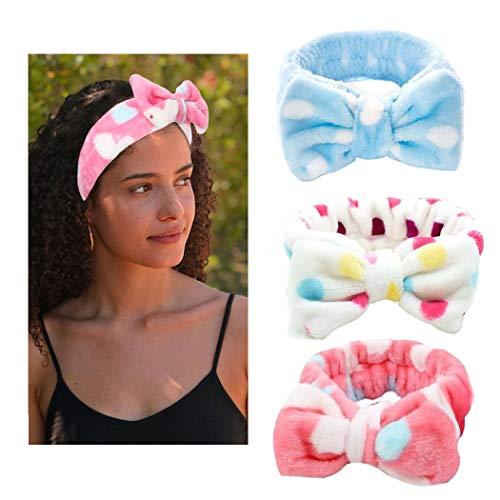 Yean - Fascia elastica per capelli con fiocco, in pile, colore bianco, per trucco, doccia, spa, massaggi, yoga, sport, confezione da 3 (F3)