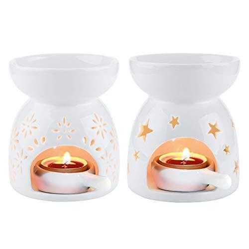 ComSaf Bruciatore di Oli Essenziali in Ceramica, Bianco Aromaterapia Lampada, Bruciatori di Aromi con Cucchiaio di Portacandele, Diffusore di Profumata Set di 2 con Motivo a Fiori e Stelle