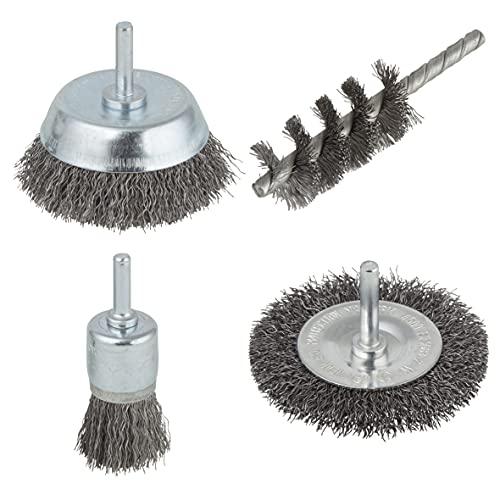 wolfcraft Set di spazzole con filo d'acciaio da 4 pezzi, 2133000
