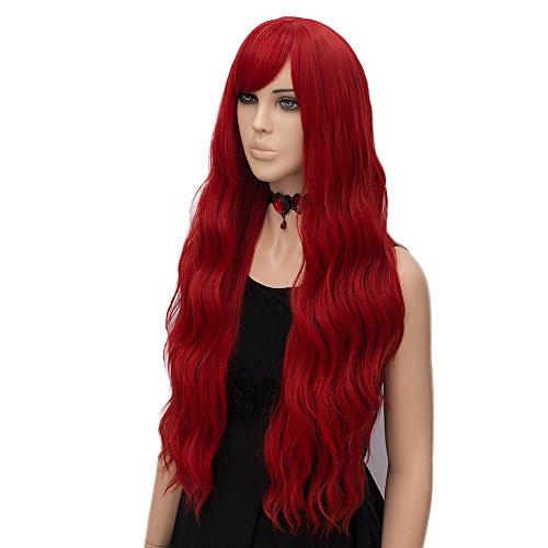 Parrucca Ondulata Lunga Rosso, FiveFour Parrucche Donna Sintetiche con Frangia per Uso Quotidiano e Festa