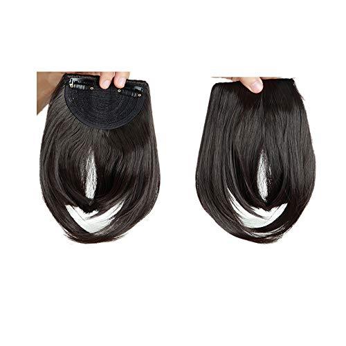 Elailite Frangetta Finta Capelli Clip Frangia Frontale Extension Fascia Unica Hair Bang Corti Lisci Posticci Fringe Invisibile Effetto Naturale Marrone Scuro