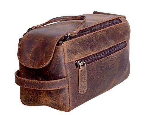 KOMALC Premium Buffalo - Borsa da toilette unisex in pelle da viaggio, Abbronzatura invecchiata., 9.3x5x4.3 Inch (Pack of 1),