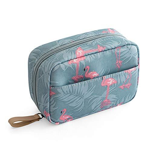 Laahoem Borsa da toilette da viaggio Flamingo Makeup Cosmetic Organizer Borsa da toilette portatile impermeabile per donne Ragazze Blue