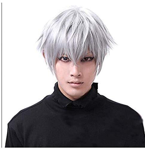Parrucca Corta Mens Cosplay Tokyo Ghouls Ken Kaneki Cosplay Parrucca Parrucche Per Il Natale Halloween Party