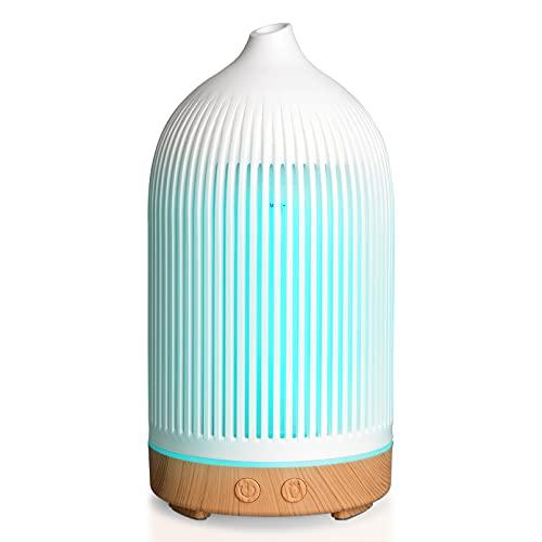 Diffusore di Oli Essenziali, Ultrasuoni Umidificatore Diffusore di Aromi con 7 Colori LED, Diffusore Ambiente senza BPA, timer e spegnimento automatico (200ml, Bianco)