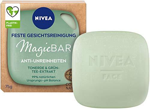 NIVEA MagicBar - Detergente per il viso fisso, anti-impurità (75 g), pulisce e opacizza la pelle, cosmetico naturale certificato con argilla ed estratto di tè verde
