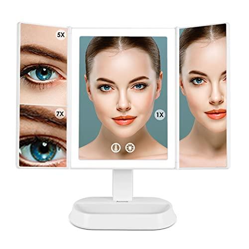 Auxmir Specchio Trucco con Luci 60 LED, Specchio Ingranditore con Touch Screen Tri-Fold 1X/5X/7X, Luminosità Regolabile, 3 Colori, Rotazione 90°, Ideale per Trucco, Rasatura