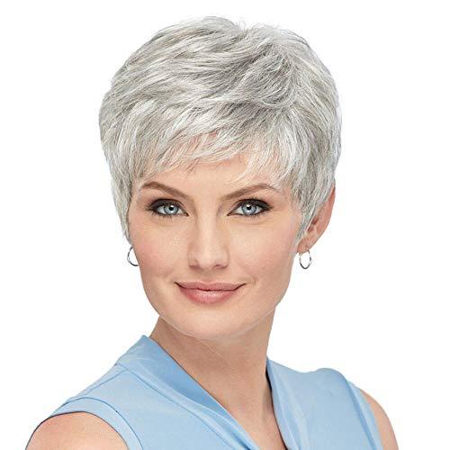 HAIRCUBE Parrucca per capelli umani grigio argento Parrucche corte naturali per donna