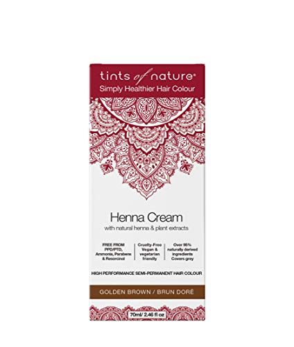 Tints of Nature, Semi-Permanent Henna Cream Hair Colour - Golden Brown, 95% Natural, Vegan, and Cruelty Free, Single