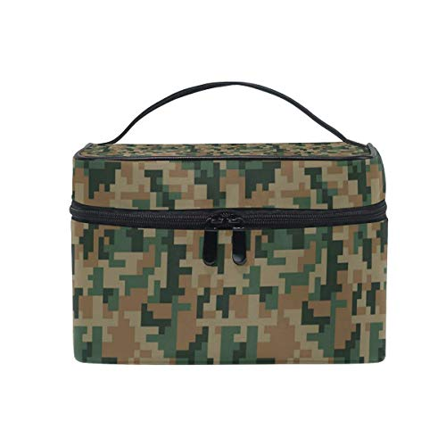Borse per cosmetici Travel Makeup Cosmetic Bags Green Digital Desert Camo Toiletry Bags Makeup Suitcase For Women Travel Daily Carry