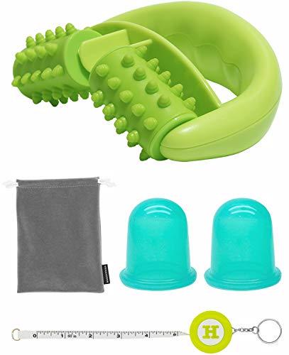 Kit per Massaggi Anti-cellulite (1 Rullo, 2 Coppe, 1 Borsa di Nylon) - Kit per Eliminare la Cellulite e l'Effetto Buccia d'Arancia, Riduce depositi di Grasso e Migliora la Circolazione, Handy Picks