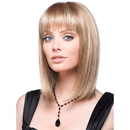Fleurapance - Parrucca da donna, capelli corti e dritti, stile bobo, forma ondulata, sintetica, resistente al calore, sembrano capelli veri, con la frangetta, attraente, alla moda