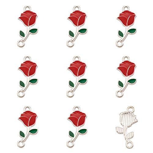 Fashewlery - 100 ciondoli smaltati a forma di rosa rossa, 21 x 10 mm, per collane, bracciali, orecchini, fai da te