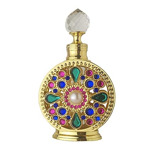 TAOJIN 10ML Lega di Olio Essenziale Golden Dubai Stile Arabo Bottiglie vuote riutilizzabili, Bottiglia di Profumo di Strass, Bottiglia