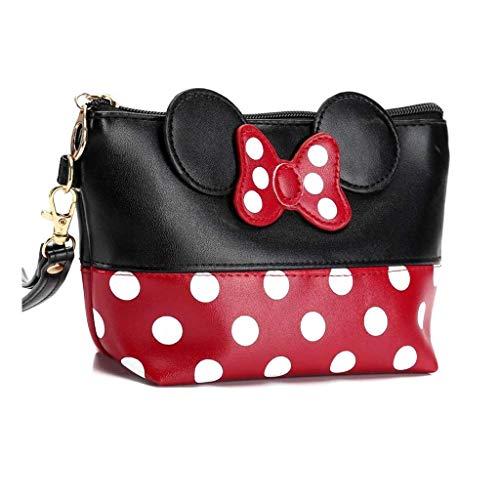 Mouse Ears Style Pois, trousse per cosmetici, da donna, in stile cartone animato, per borsetta da trucco, chiavi, auricolari, rossetto, colore rosso e nero