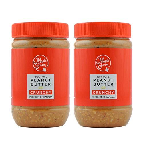 MapleFarm - 100% Puro Burro d'arachidi croccante (CRUNCHY) - 1 Kg (2 x 500g) - Burro arachidi proteico - Crema proteica - Burro di arachidi naturale - Crema di arachidi - Peanut butter crunchy