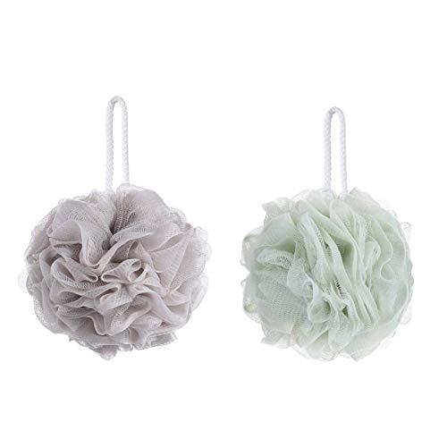 Loofahs - Spugna esfoliante per doccia, 2 pezzi, colore: cachi e verde