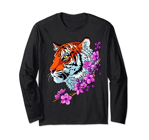 Tigre con fiori, stile tatuaggio Maglia a Manica