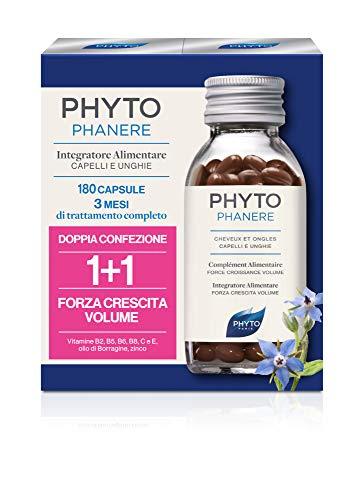 Phyto Phytophanere Integratore Alimentare Naturale Fortificante per Capelli e Unghie, Dona Forza, Crescita e Volume, senza Siliconi, Confezione da 180 Capsule