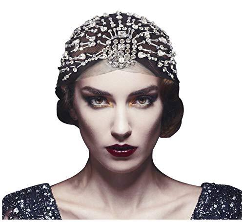 Keland - Fascia per capelli vintage anni '20, con perline e strass e strass, per feste Gatsby, stile D)