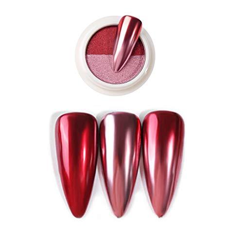 Shogpon Unghie Glitter Super Brillante Specchio Cromo Effetto Unghie Polvere Decorazione di Arte del Chiodo Manicure Pigmento di Polvere (Polvere Bicolore), Rosso e Rosa