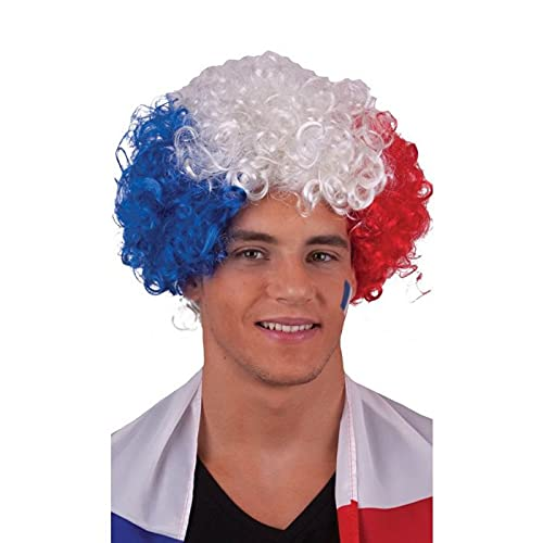 Zeus Party Parrucca Riccia Tricolore Francese - Parrucchino Francia Blu Bianco e Rosso