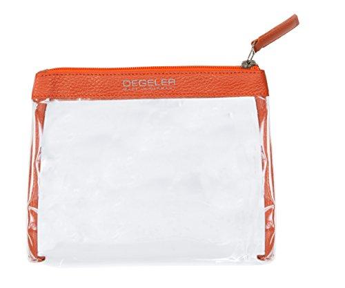 Beauty case trasparente in pelle di vitello | adatto per trasporto liquidi in Bagaglio a mano | degeler trasparente borsa per Viaggio da Aereo, cosmetici borsa richiudibile con zip - arancione