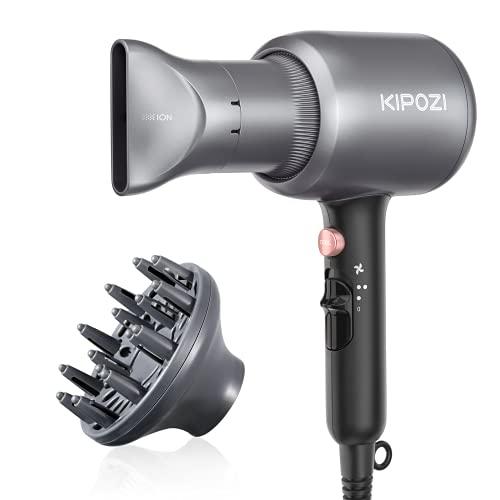 KIPOZI Phone per Capelli, Asciugacapelli Ioni, Phon Professionale da 2200W Potente per Un'Asciugatura Rapida con Concentratore & Diffusore, 2 Velocità & 3 Temperatura, Grigio