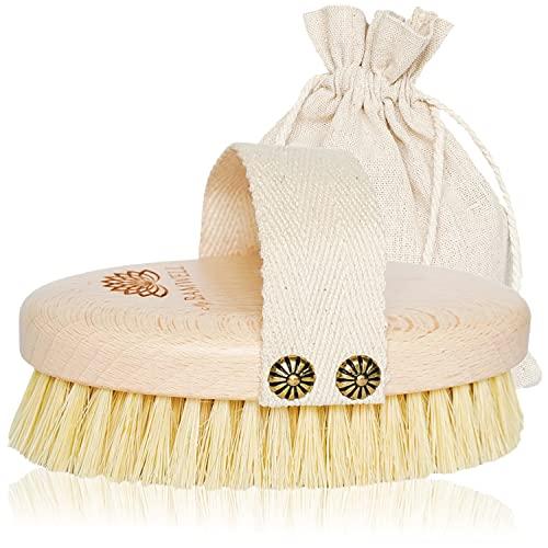 MyBamwell Spazzola Corpo, Secco Massaggio Anticellulite, Naturali Tampico Setole Scrub Gambe Brush, Dry Body Brushing per Cellulite e Esfoliante