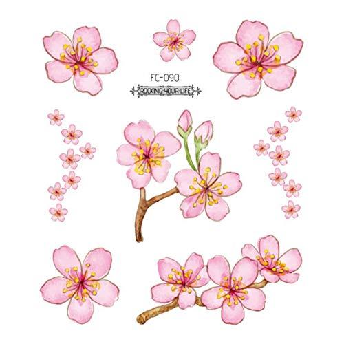 SDEFGH Adesivo tatuaggio 3PCS Sakura Tattoo Adesivi Tatuaggi di Fiori per Le Donne Tatuaggio a Mano Braccio Impermeabile Tatoo Fiore di ciliegio Tatto