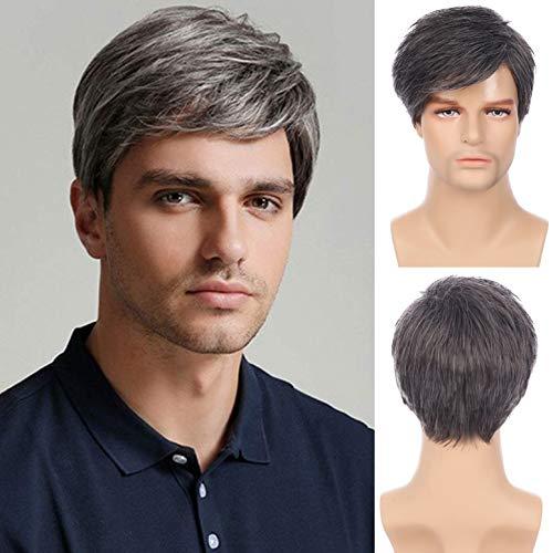 Parrucca da uomo parrucca grigia per capelli corti da uomo con frangia cosplay festa di halloween con cappuccio per parrucca