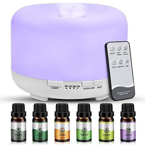 Diffusore di aromi, Diffusore di olio aromaterapico da 450 ml con 6 * 10 ml di olio essenziale puro, luce a 7 colori, impostazione della modalità nebbia regolabile con timer per soggiorno
