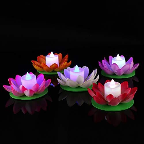 OSALADI LED Floating Light, Lotus Flower Wishing Pond Light, Lotus Candle Flowers Lampada galleggiante per piscina Pond (5pcs, 11.5cm, luce colorata)