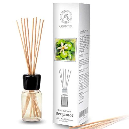 Diffusore Profumato per Ambiente di Bergamotto 100ml - con 8 Bastoncini di Bambù - Olio Essenziale Naturale - Fragranza Naturale Intensa e Duratura - Senza Alcool - Profumo per Interni