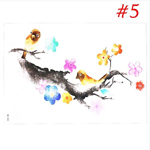 SDEFGH Adesivo tatuaggio 3PCS Removable 3D Temporary Tattoos Sticker Colorful Flower Watercolor Painting Drawing Sticker