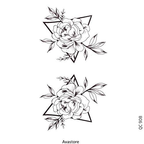 Tatuaggio temporaneo da donna, triangolo di fiore, tatuaggio temporaneo, triangolo di fiore – Avastore