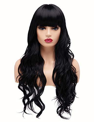 BESTUNG Full naturale dei capelli sintetici lunghi ondulati parrucche per donna nero Brunette parrucca con Frangetta pulito per cosplay o la vita quotidiana