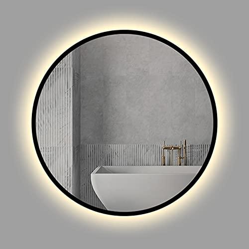 LBYDXD Specchio da Bagno a LED Rotondo, Specchio con Cornice Nera con luci per Parete, Specchio da Trucco a LED, Luce Bianca/Luce Calda, Specchio a Parete, 50 cm / 60 cm / 70 cm / 80 cm