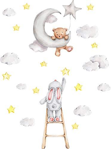Szeridan D307 80 x 110 cm, orsacchiotto sulla luna, conigli sulla scala con nuvole, stelle, animali, baldacchino, decorazione per la cameretta dei bambini, D307 (XS - 80 x 110 cm)