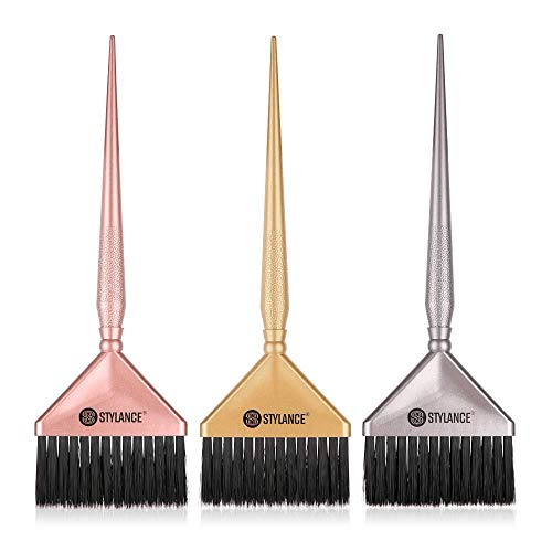 Pennello per Tinta Capelli,Spazzola Tinta 3 Pezzi Salone e Casa Tinta fai-da-te Tre Combinazioni di Colori Argento, Oro Rosa.