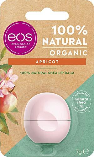 Eos Organic Albicot Lip Balm Idratante Albicocca Balsamo per labbra Labbra Morbido con burro di karitè naturale, 7 g