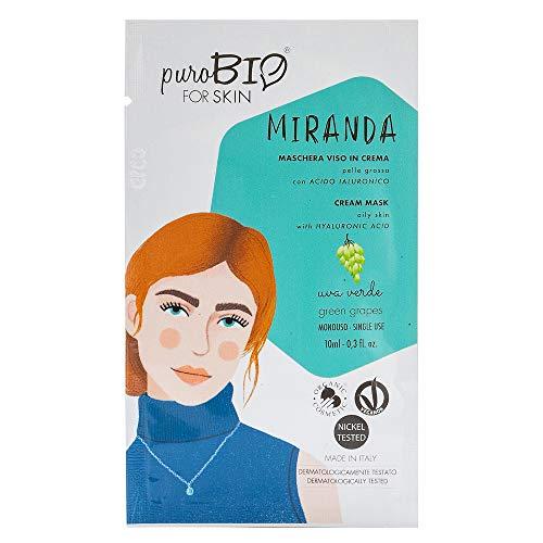 Purobio Miranda Maschera Viso In Crema Per Pelle Grassa, 06 Uva Verde - 10 Ml