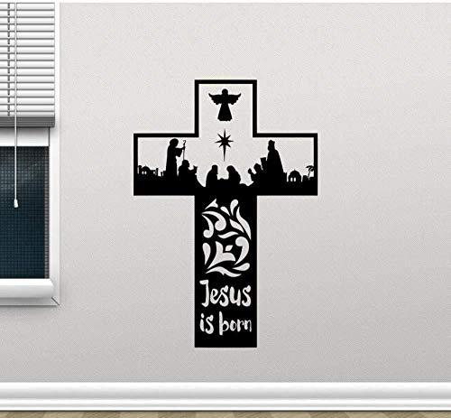 Gesù Croce Murale Decorazione Della Casa 42X61 cm, Tatuaggio Rimovibile In Vinile In Pvc Per La Decorazione Del Soggiorno