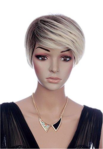 prettyland parrucca capelli corti lisci biondo chiaro taglio pixie scalato effetto ombré sfumature per tutti i giorni C1352