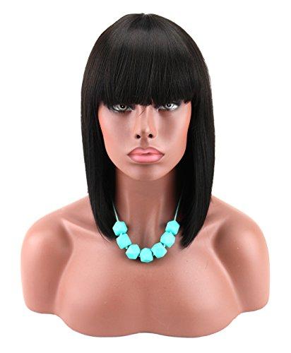 Kalyss - Parrucca da donna, lunga 30,5 cm, stile a caschetto, con frangia, capelli neri, resistente al calore, capelli sintetici Yaki, da donna