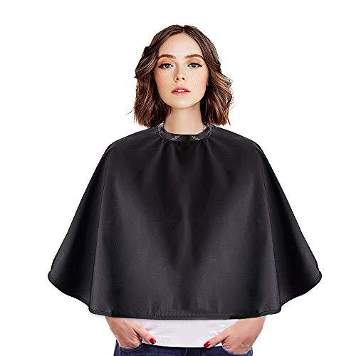 Diealles Shine Mantella Capelli Nera, Mantella regolabile a strisce impermeabile per parrucchieri e barbieri per il taglio dei capelli, 77 * 80cm
