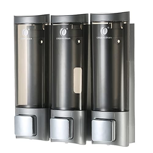 Galapare Dispenser di Sapone Manuale, Dispenser di Sapone 200ml * 3, con Nastro Biadesivo schiumato a Parete, Shampoo Doccia Gel Dispenser di Sapone Liquido per Bagno o Cucina