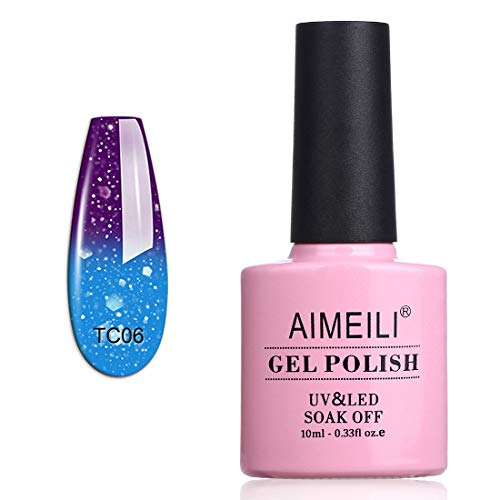 AIMEILI Smalto Semipermanente per Unghie in Gel Soak Off UV LED Smalti Gel per Unghie che Cambia Colore con la Temperatura - Glitter Purple to Glitter Blue Full Shimmer/Diamond (TC06) 10ml