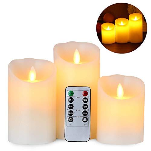 Candele LED Gr4tec Set di 3 Candele a LED Senza Fiamma in Vera Cela con Telecomando e Timer Luce Decorativa Alimentazione dalle 3 Pile AAA Decorazioni per Natale Feste Matrimonio Compleanno